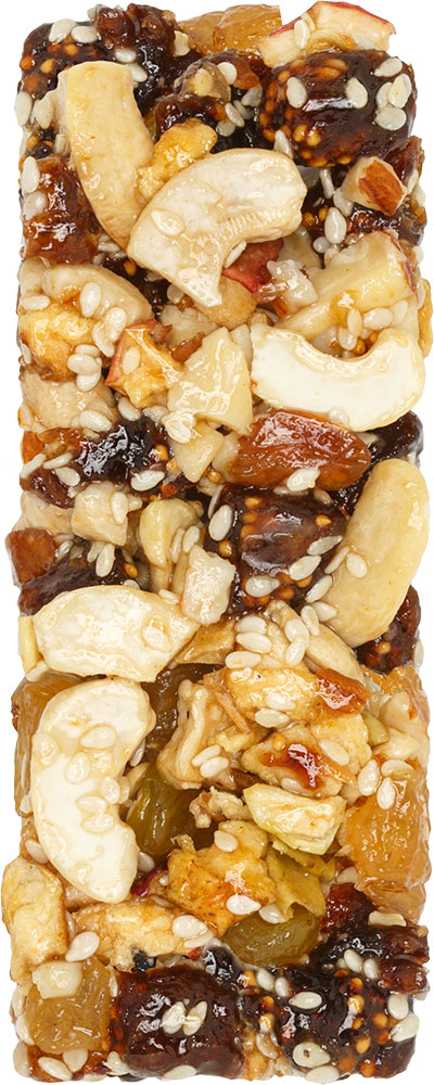 Crispy bar with cashews, almonds, and figs